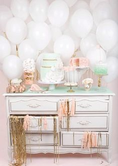 Simple balloon backdrop for a shabby chic party