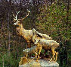 Parc de Sceaux - Deer doe and fawn sculpture Rococo Revisited