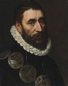 ADRIAEN THOMASZ. KEY ANTWERP (?) CIRCA 1544 - AFTER 1589 PORTRAIT OF A BEARDED MAN, BUST LENGTH, WEARING A CHAIN OF GUILD BUCKLES