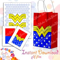 Digital Wonder Woman Favor bags Instant Download Justice League Birthday Party Decoration DIY Printable Designs Superhero girls Favors Gift by SmileShake on Etsy https://www.etsy.com/listing/488182447/digital-wonder-woman-favor-bags-instant