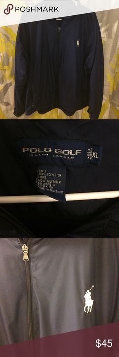 NWOT Polo Ralph Lauren Golf lined windbreaker Brand new navy blue with large white pony. Lined with chrome adjustable waist toggles, Velcro adjustable wrist band. Zip pockets. Amazing jacket and great price. 🎄🎄 Polo by Ralph Lauren Jackets & Coats Windbreakers