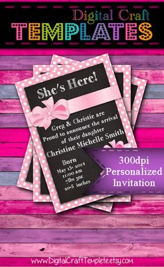 Personalized Printable Invitations | Pink | Baby Gift | Baby Shower | Birth Announcement |  #62b
