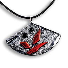 Handmade gift Zen Modern Fused Glass Pendant Silver/Black/Red - Black Leather Cord >>> You can find more details by visiting the image link.