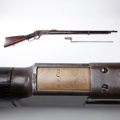 """Winchester M1873 Musket- Like preceding Civil War era muzzleloaders, this Winchester features an angular bayonet to go along with its 30"""" round barrel.  While the lever-action design never received serious military consideration in this country, other nations like Turkey a& Russia were to order thousands of Winchesters.  The .44 WCF cartridge that our example is chambered for was one of the most popular rounds for rifles & handguns during the frontier period. National Firearms Museum…"""