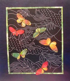 BUTTERFLIES & SASHIKO Japanese Quilt Wall Hanging. From Paradise Stitched