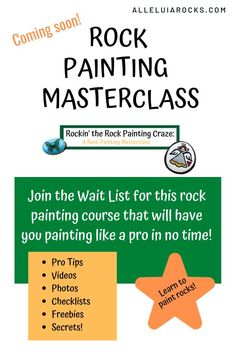 Are you ready to jump into a course that will have you painting rocks like a PRO in no time? Alleluia Rocks will soon release it's Rock Painting Masterclass. Join the wait list for early access and VIP pricing! CLICK to join the wait list! #rockpainting #paintedrocks #rockpaintingdiy #diy #paintingclass Stone Painting, Rock Painting, Hand Painted Rocks, Painted Stones, Painting Courses, Fun Crafts For Kids, Christian Gifts, Kind Words, Your Paintings