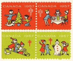 """That Christmasy Feeling (@thatchristmasyfeeling) on Instagram: """"Vintage Canadian Christmas seals from my collection, circa 1957."""""""