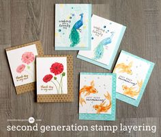 Hello. I am so very excited about today's technique and hope you like it! I used second generation stamping with my stamp layering stamp sets for a bold card and a soft card. I have several examples for you, along with a blog hop and giveaway.