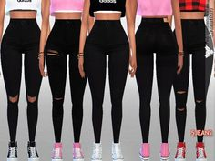 The Sims Resource: High Rise Black Denim by Pinkzombiecupcakes • Sims 4 Downloads