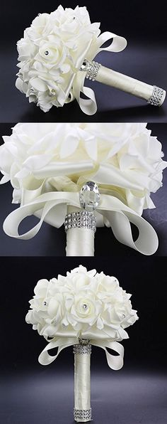 Febou Crystal Roses Pearl Bridesmaid Wedding Bouquet, Bridal Artificial Silk Flowers (Ivory)