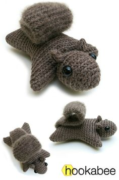 Squirrel amigurumi crochet pattern by @hookabee