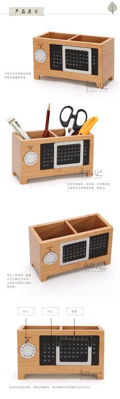Wood Box Creative Calendar Pen Storage Cabinet Desk Box  Lockers   #StorageCabinet