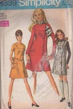 MOMSPatterns Vintage Sewing Patterns - Simplicity 8339 Vintage 60's Sewing Pattern SUPER CUTE Mod Front Wrap & Button Coat Dress, Mini Jumper, Tuck A Scarf In!