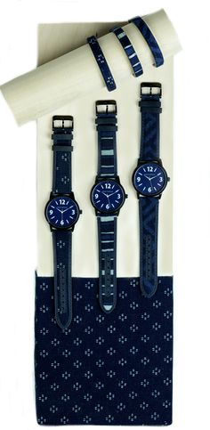 TOKYObay Indigo Collection. Featuring watches,belts and bracelets using authentic Indigo fabric sourced from Osaka Japan
