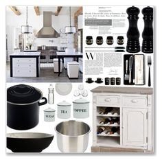 """Black and White KITCHEN"" by itaylorswift13 ❤ liked on Polyvore featuring Le Creuset, Noritake, Fagor, Dot & Bo, Unison, BergHOFF, Typhoon and kitchen"