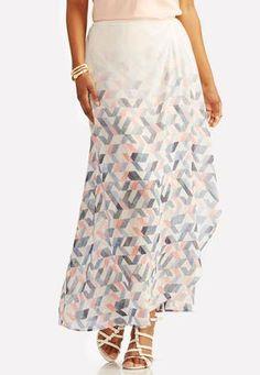 Cato Fashions Gradient Geo Wrap Maxi Skirt #CatoFashions