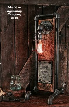 METAL BORU VE AGAC GOVDELI MASA LAMBASI TASARIM - METAL PIPE FITTING WOOD BOARD DESK LAMP DESIGN
