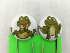 Frogs Covered Button Giant Paperclip, Bookmark, Organizer Clip by NancyPKdesigns on Etsy