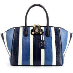 VBH Brera 34Cm Indigo Striped Snakeskin Bag ($3,713) ❤ liked on Polyvore featuring bags, handbags, python handbag, snakeskin purse, white purse, snakeskin handbags and python bag