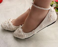 ec4013b91b1 White lace Wedding shoes pearls ankle trap Bridal flats low high heels size  5-12