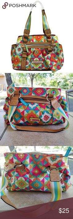 Lily Bloom Landon Kaleidoscope Print Shoulder Bag Brighten up your outfit by accessorizing with the colorful style of this women's triple-section satchel bag from Lily Bloom. The bountiful array of colors that make up this eye-catching handbag are complemented by synthetic leather trim for a casual look that's fun and energetic.  Excellent Condition  8TH PIC OF SAME BAG IN DIFFERENT PRINT  Center compartment has a zippered pocket. Front & back of bag has zippered pocket. slip pocket on each…