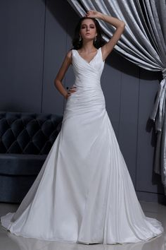 Draped A-line Wedding Dress of 2014 with V Neckline A simple designed A-line wedding dress draped with straps and V neckline; corset lace-up...