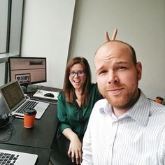 A couple of FR team members working at the London Office! #office #london #workinghard #bunnyears