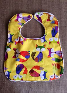 Baby Bib - Yellow with Foxes - 0-12 Months on Etsy, $6.00