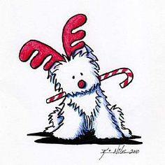 Westie Reindeer by Artist KiniArt