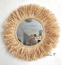 Above a changing table. Sunburst Mirror, Diy Mirror, Decorate Mirror, Macrame Mirror, Mirror Crafts, Diy Wall Art, Diy Wall Decor, Cardboard Painting, Diy Home Decor Easy