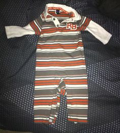 Baby Boy 6-9 Months Outfit Rugged Bear Striped Rugby Shirt-style long sleeved