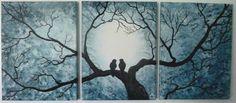 Set of Three Paintings. 12 x 16 Love Birds by ArtbySimplyMe, $195.00