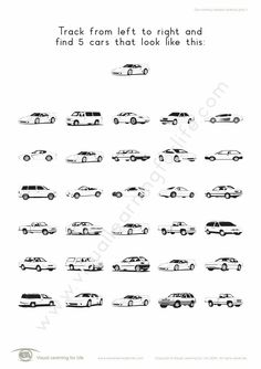 "In the ""Car Tracking Complex"" worksheets, the student must find the same car the example at the top of the page. Learning For Life, Visual Learning, Figure Ground Perception, Car Tracking, Worksheets, Student, Leaves, Activities, Autos"