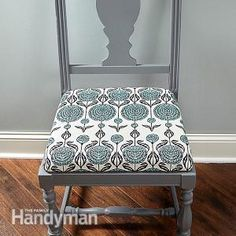 How to Reupholster a Chair: Anyone can make a nasty seat nice in just a couple of hours. Here's how to do a first class DIY chair upholstery job.Read more: http://www.familyhandyman.com/woodworking/furniture-repair/how-to-reupholster-a-chair/view-all