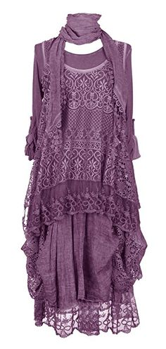 Ladies Womens Italian Lagenlook Quirky Layering LONG 3 Piece Sequin Crochet Lace Long Sleeves Scarf Tunic Top Dress One Size Plus UK 12-20 (One Size Plus, Aubergine)