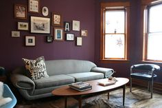 the deep plum really works with the lighter furnishings.  this would be a cool color, too, in a master bedroom or theater/game room