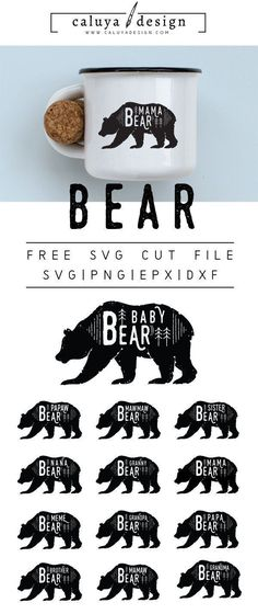 FREE bear cut file, Printable vector clip art download. Free printable clip art mom bear, dad bear. Compatible with Cameo Silhouette, Cricut explore and other major cutting machines. 100% for personal use, only $3 for commercial use. Perfect for DIY craft project with Cricut & Cameo Silhouette, card making, scrapbooking, making planner stickers, making vinyl decals, decorating t-shirts with HTV and more! Free SVG cut file, free bear SVG cut file. Mom, Dad, Baby, sister, brother, grandma. gra