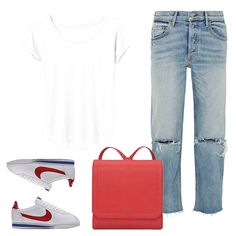On The Weekend - Rock a plain white tee in the chicest way possible by adding relaxed fitting denim, trendy sneakers, and a bold leather backpack.