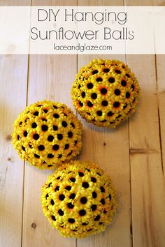 DIY sunflower balls that you can hang for home decor or party decorations. All you need is styrofoam, fake sunflowers, hot glue, and string. #diy #sunflowers #partydecoration #homedecor
