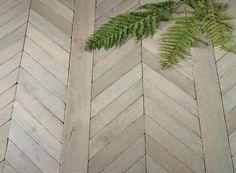 """""""Fougeres"""" French Oak chevron-parquet wood floors; Francois & Co"""