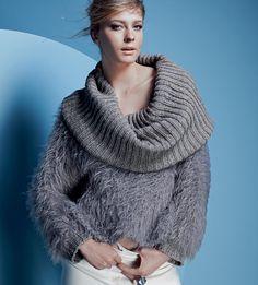 Описание вязания на спицах короткого свитера с большим воротником из журнала «Вязание. Burda» №1/2015