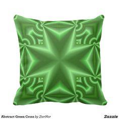 Abstract Green Cross Pillows