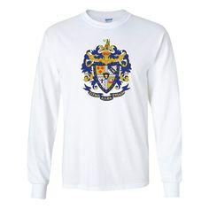 Sigma Alpha Epsilon Long Sleeve T-Shirt Coat of Arms Design - White & Sport Gray