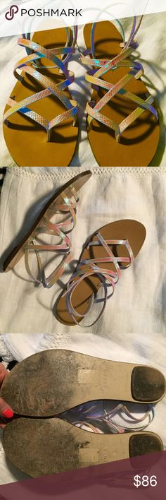 ☄jcrew iridescent wrap sandals! Channel your inner mermaid! I love these but just don't wear enough. Gorg w/ plenty of life left- worn maybe 7 times. I added holes because I have small ankles. In good condition with minimal flaws. J. Crew Shoes Sandals