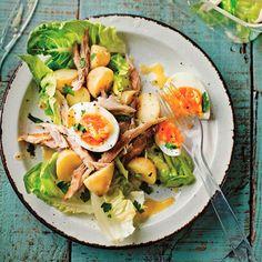 Summer recipes Lunch - James Ramsden's new potato, smoked mackerel and egg salad. Healthy Egg Salad, Healthy Salad Recipes, Lunch Recipes, Cooking Recipes, Healthy Food, Healthy Eating, Burger Recipes, New Potato Salads, Potato Salad With Egg