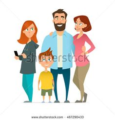 family, mom, father, son, sister with gadget, cartoon style, characters, vector illustration