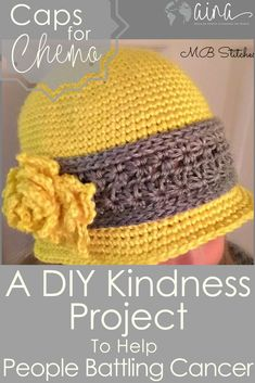 Project Tutorial for a DIY Kindness Project to Help People Battling Cancer. Get the Full Crochet tutorial and where to send the project to make a meaningful impact and fit service into your busy schedules. Crochet Adult Hat, Crochet Hat For Women, Crochet Beanie Pattern, Crochet Cap, Crochet Stitches, Crocheted Hats, Chemo Caps Pattern, Hats For Cancer Patients, Hat Tutorial