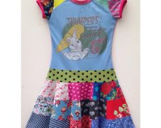 Size 7 (50 1/2 inch height) Upcycled girls patchwork circleskirt twirl dress Thumper
