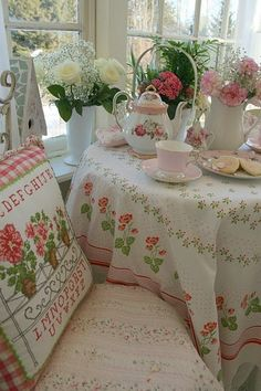 Embellished Pillow and Table Cloth Fabric >> Cozy & Comforting Designs -=- Perfect for Breakfast Nook or Afternoon Tea Table <3