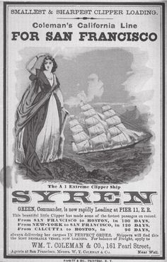 Advertisement for the clipper ship, Syren, from New York to San Francisco.